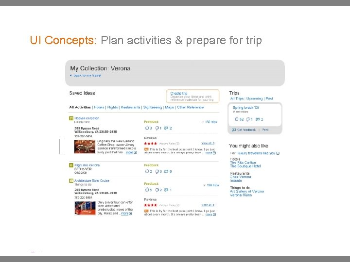 UI Concepts: Plan activities & prepare for trip | Ethnographic Research: : May 2007