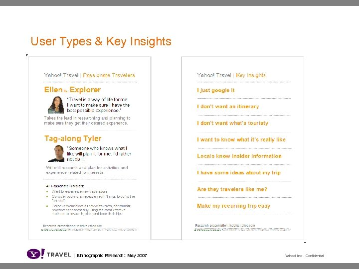 User Types & Key Insights | Ethnographic Research: : May 2007 Yahoo! Inc. .