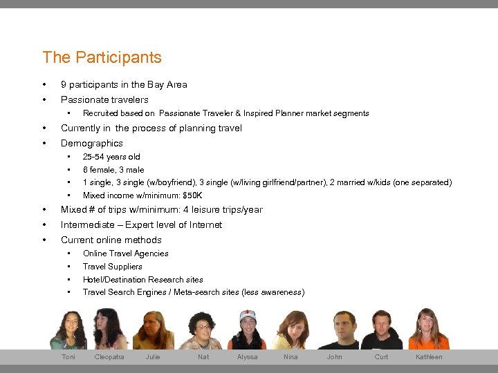 The Participants • 9 participants in the Bay Area • Passionate travelers • Recruited