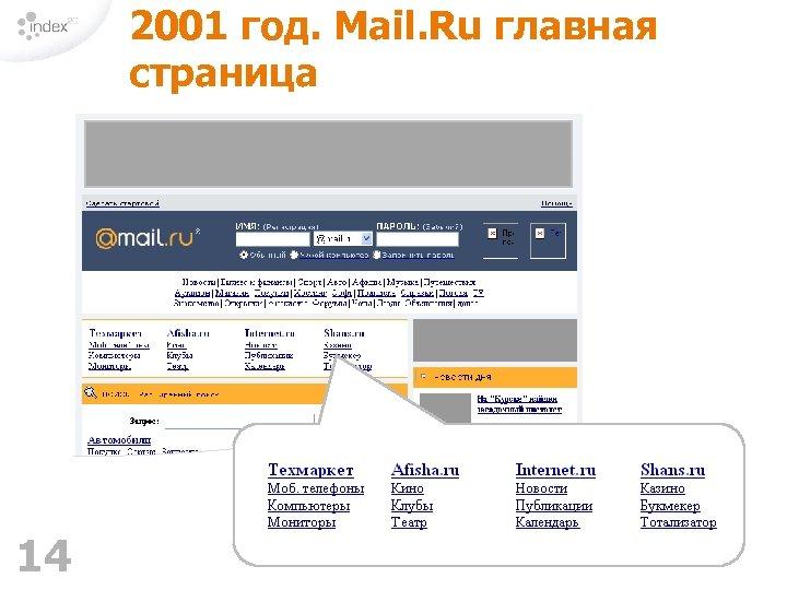2001 год. Mail. Ru главная страница 14