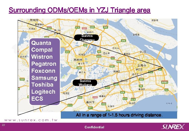 Surrounding ODMs/OEMs in YZJ Triangle area Quanta Compal Wistron Pegatron Foxconn Samsung Toshiba Logitech