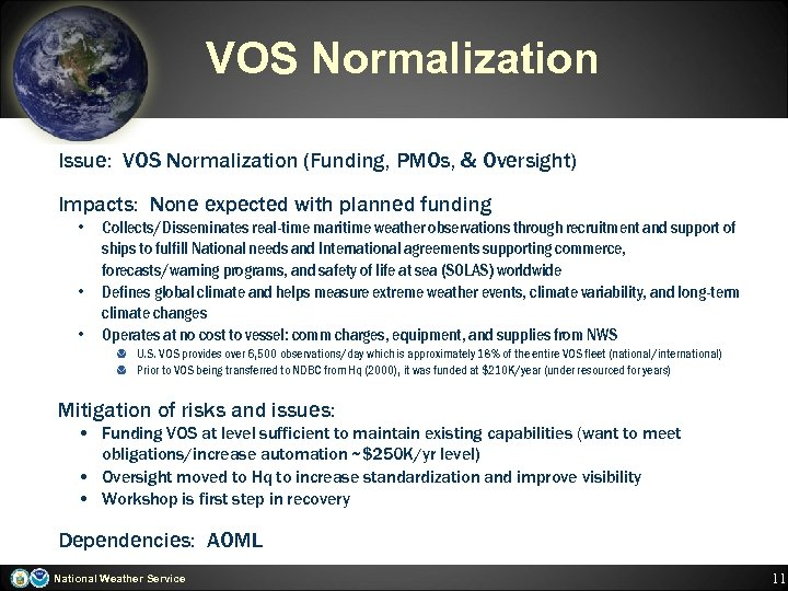 VOS Normalization Issue: VOS Normalization (Funding, PMOs, & Oversight) Impacts: None expected with planned