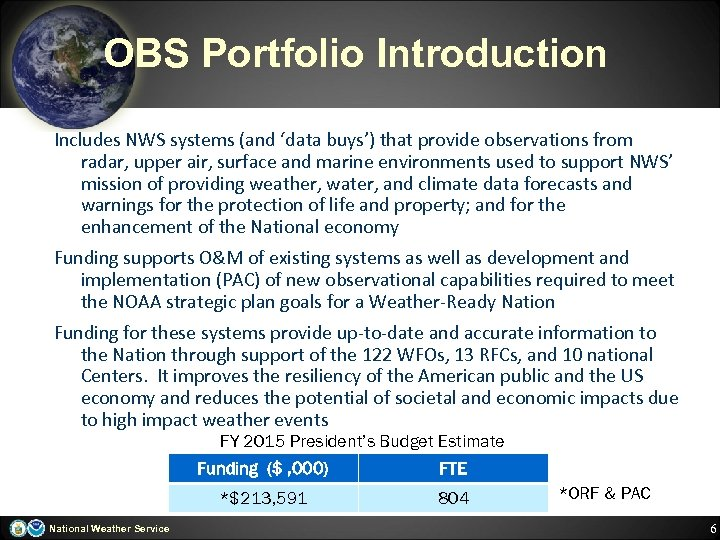OBS Portfolio Introduction Includes NWS systems (and 'data buys') that provide observations from radar,