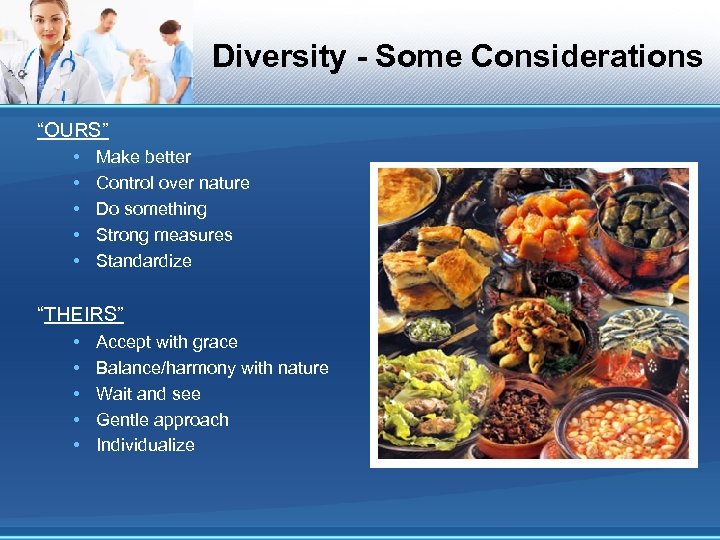 """Diversity - Some Considerations """"OURS"""" • • • Make better Control over nature Do"""