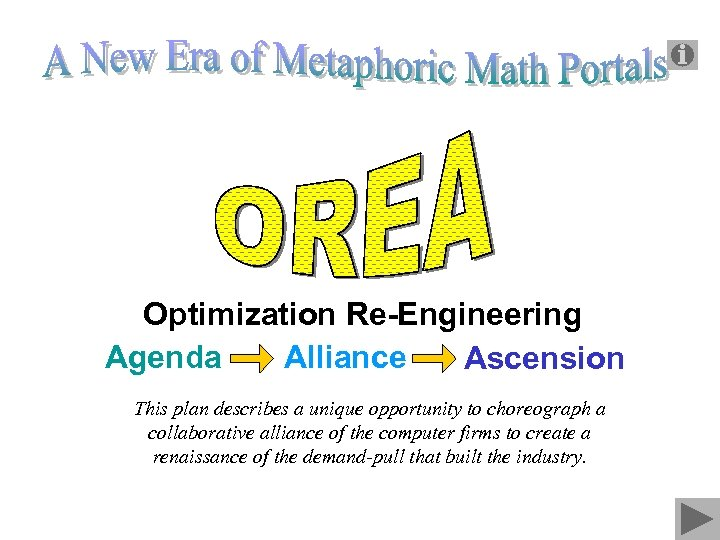 Optimization Re-Engineering Alliance Ascension Agenda Alliance This plan describes a unique opportunity to choreograph