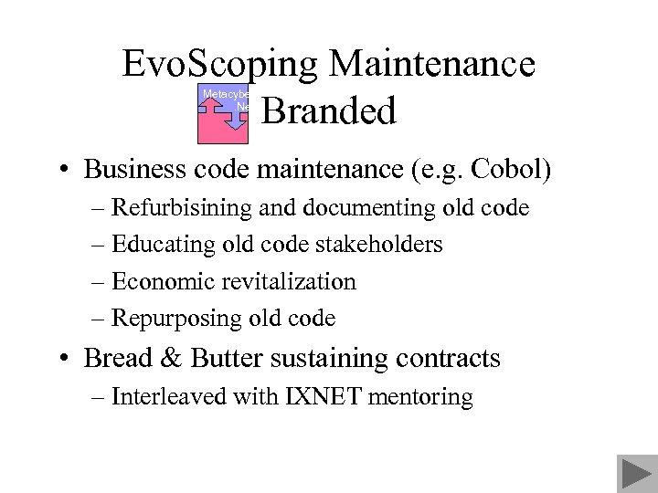 Evo. Scoping Maintenance Branded Metacyber. Net • Business code maintenance (e. g. Cobol) –
