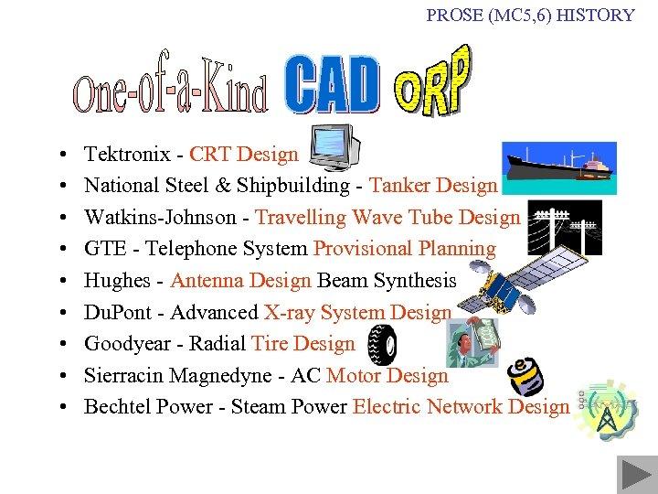 PROSE (MC 5, 6) HISTORY • • • Tektronix - CRT Design National Steel