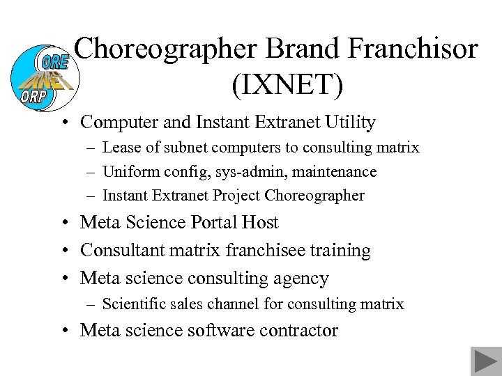Choreographer Brand Franchisor (IXNET) • Computer and Instant Extranet Utility – Lease of subnet