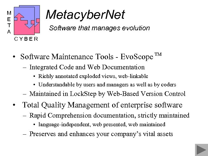 Metacyber. Net M E T A Software that manages evolution CYBER • Software Maintenance