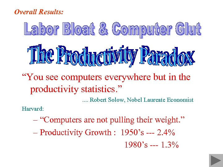"""Overall Results: """"You see computers everywhere but in the productivity statistics. """". . Robert"""