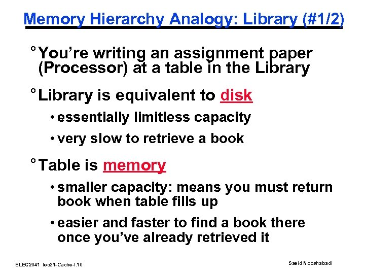 Memory Hierarchy Analogy: Library (#1/2) ° You're writing an assignment paper (Processor) at a