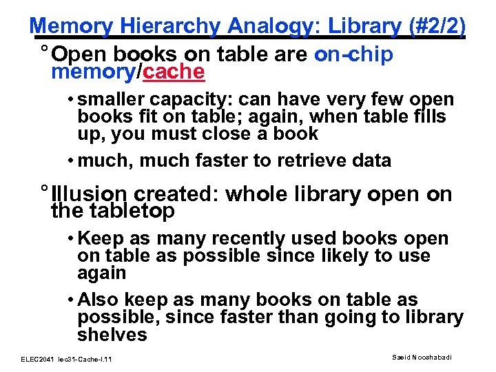 Memory Hierarchy Analogy: Library (#2/2) ° Open books on table are on-chip memory/cache •