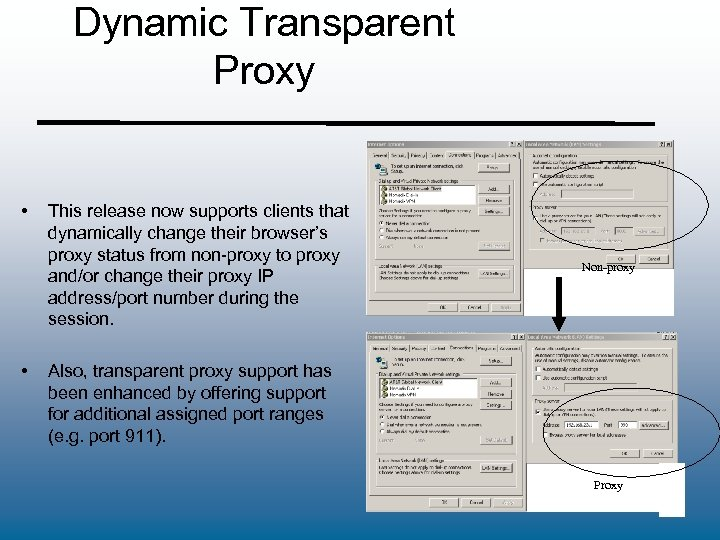 Dynamic Transparent Proxy • • This release now supports clients that dynamically change their
