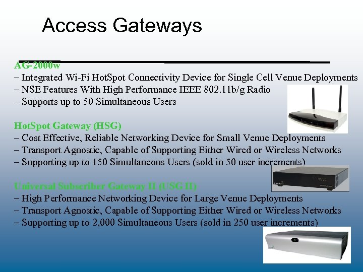 Access Gateways AG-2000 w – Integrated Wi-Fi Hot. Spot Connectivity Device for Single Cell