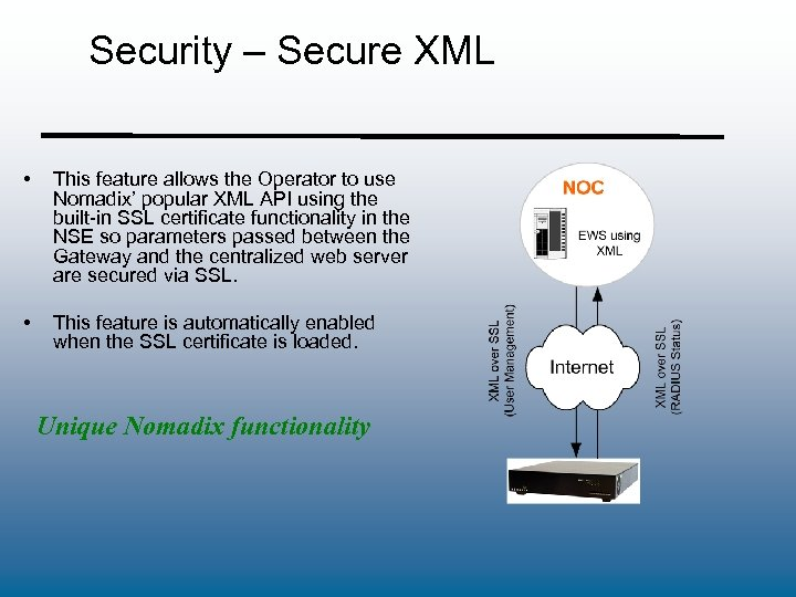 Security – Secure XML • This feature allows the Operator to use Nomadix' popular