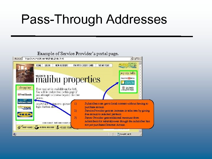 Pass-Through Addresses Example of Service Provider's portal page. 1) 2) 3) Subscribers can get