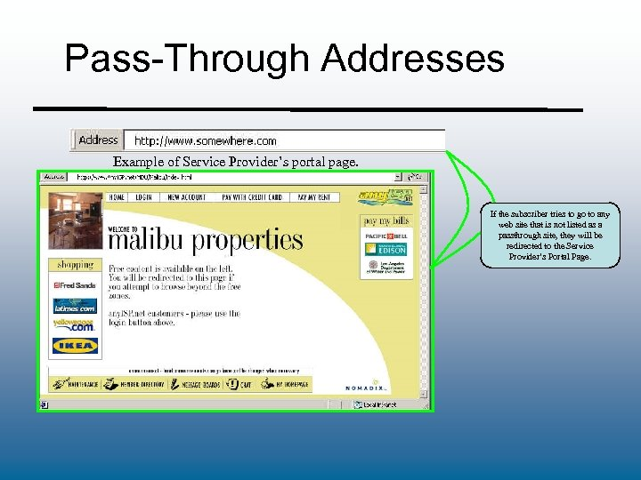 Pass-Through Addresses Example of Service Provider's portal page. If the subscriber tries to go