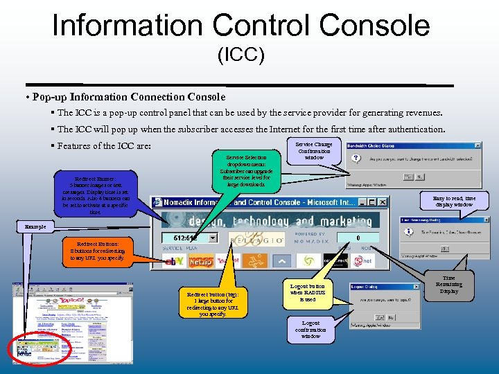 Information Control Console (ICC) • Pop-up Information Connection Console § The ICC is a