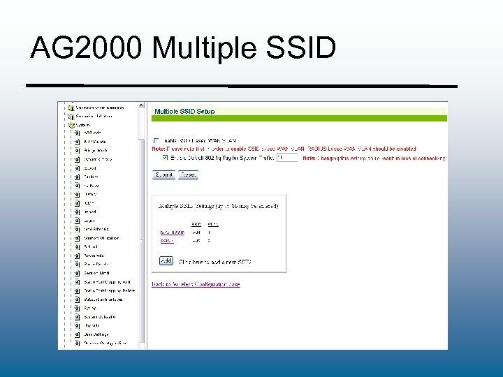 AG 2000 Multiple SSID