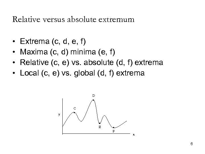 Relative versus absolute extremum • • Extrema (c, d, e, f) Maxima (c, d)