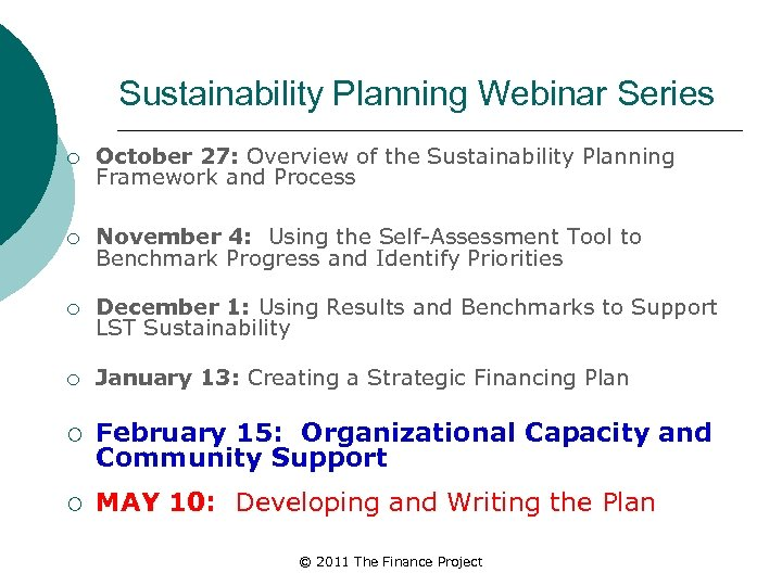Sustainability Planning Webinar Series ¡ October 27: Overview of the Sustainability Planning Framework and