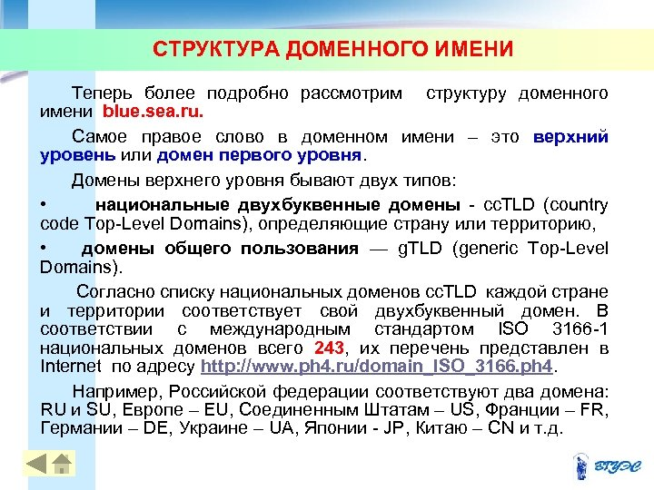 СТРУКТУРА ДОМЕННОГО ИМЕНИ Теперь более подробно рассмотрим структуру доменного имени blue. sea. ru. Самое