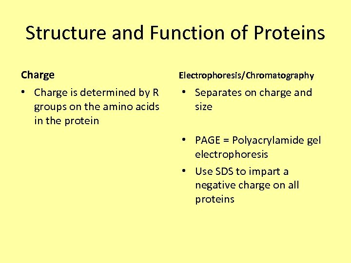Structure and Function of Proteins Charge Electrophoresis/Chromatography • Charge is determined by R groups