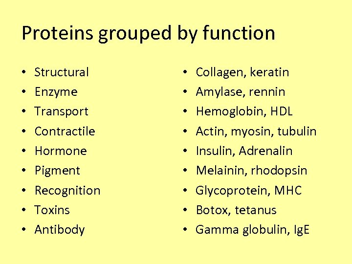 Proteins grouped by function • • • Structural Enzyme Transport Contractile Hormone Pigment Recognition