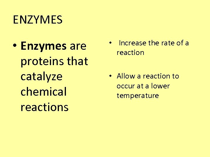 ENZYMES • Enzymes are proteins that catalyze chemical reactions • Increase the rate of