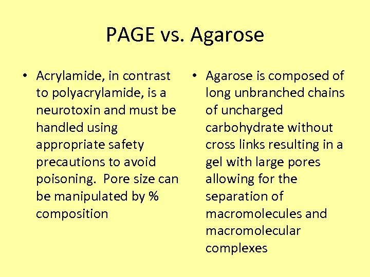 PAGE vs. Agarose • Acrylamide, in contrast • Agarose is composed of to polyacrylamide,