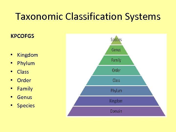 Taxonomic Classification Systems KPCOFGS • • Kingdom Phylum Class Order Family Genus Species