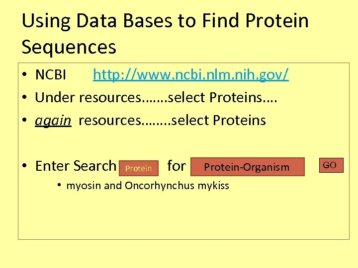 Using Data Bases to Find Protein Sequences • NCBI http: //www. ncbi. nlm. nih.
