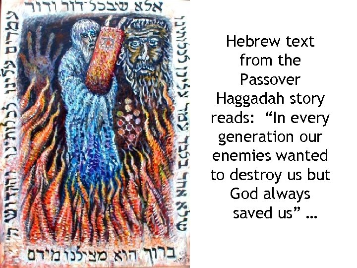 """Hebrew text from the Passover Haggadah story reads: """"In every generation our enemies wanted"""