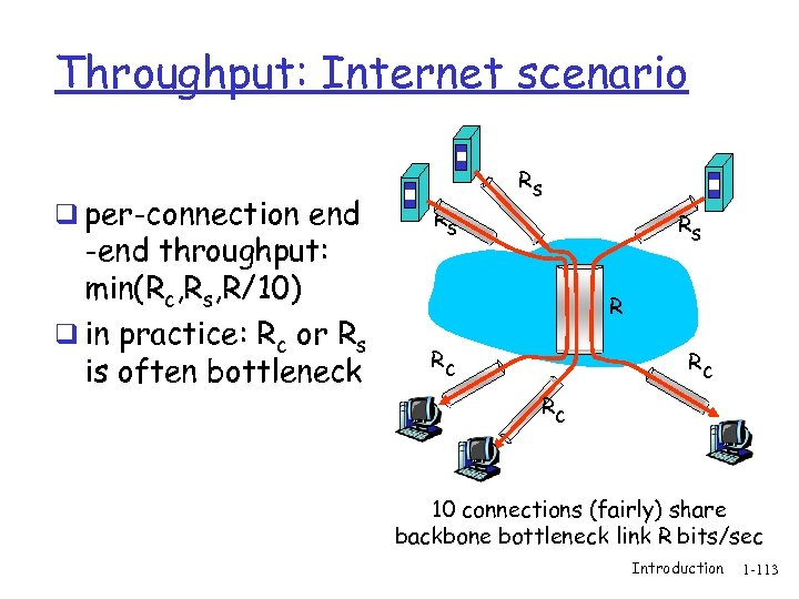 Throughput: Internet scenario q per-connection end -end throughput: min(Rc, Rs, R/10) q in practice: