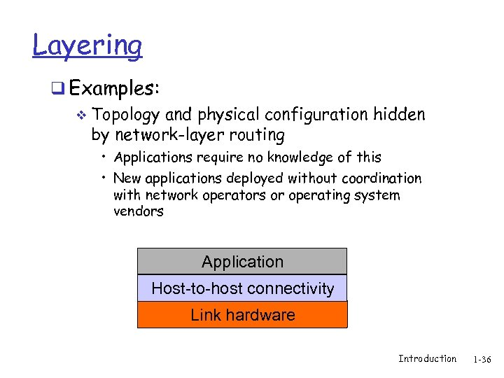Layering q Examples: v Topology and physical configuration hidden by network-layer routing • Applications