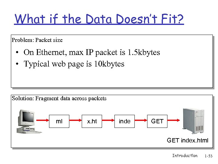 What if the Data Doesn't Fit? Problem: Packet size • On Ethernet, max IP