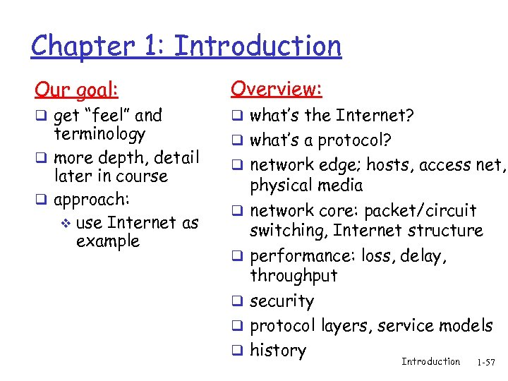 "Chapter 1: Introduction Our goal: Overview: q get ""feel"" and q what's the Internet?"