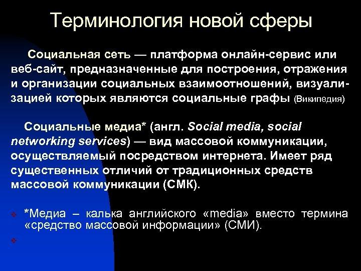 Терминология новой сферы Социальная сеть — платформа онлайн-сервис или веб-сайт, предназначенные для построения, отражения