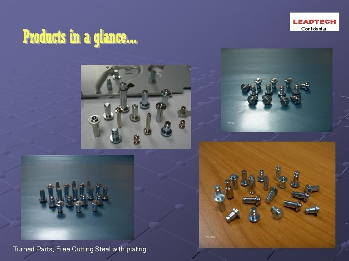 Confidential Turned Parts, Free Cutting Steel with plating
