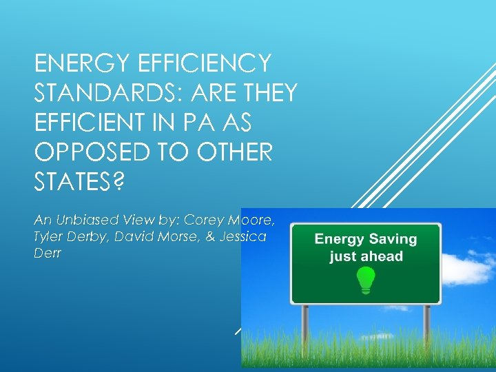 ENERGY EFFICIENCY STANDARDS: ARE THEY EFFICIENT IN PA AS OPPOSED TO OTHER STATES? An