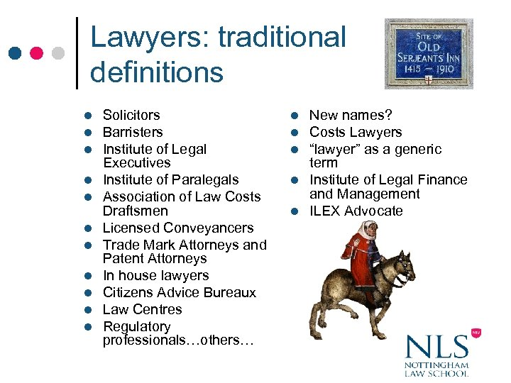 Lawyers: traditional definitions l l l Solicitors Barristers Institute of Legal Executives Institute of