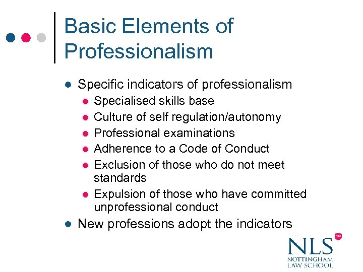 Basic Elements of Professionalism l Specific indicators of professionalism l l l l Specialised