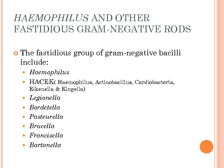 HAEMOPHILUS AND OTHER FASTIDIOUS GRAM-NEGATIVE RODS The fastidious group of gram-negative bacilli include: Haemophilus
