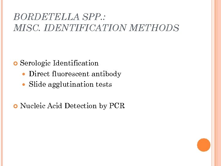 BORDETELLA SPP. : MISC. IDENTIFICATION METHODS Serologic Identification Direct fluorescent antibody Slide agglutination tests