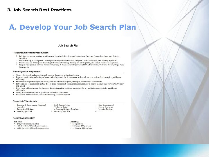 3. Job Search Best Practices A. Develop Your Job Search Plan