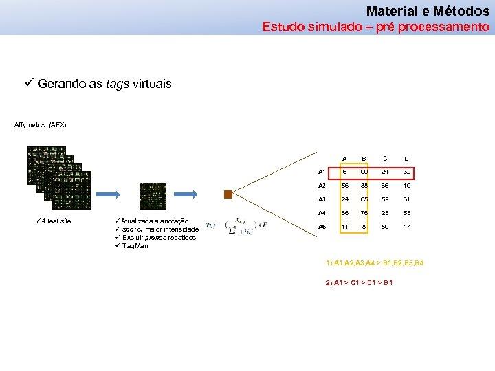 Material e Métodos Estudo simulado – pré processamento ü Gerando as tags virtuais Affymetrix