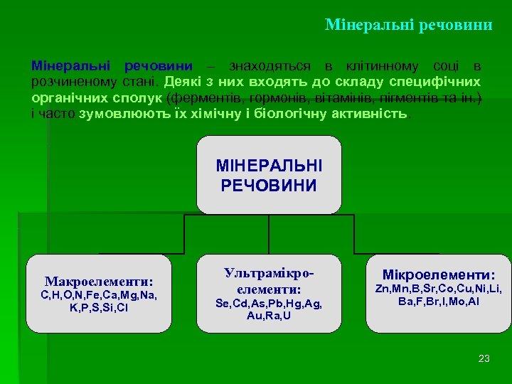 Мінеральні речовини – знаходяться в клітинному соці в розчиненому стані. Деякі з них входять