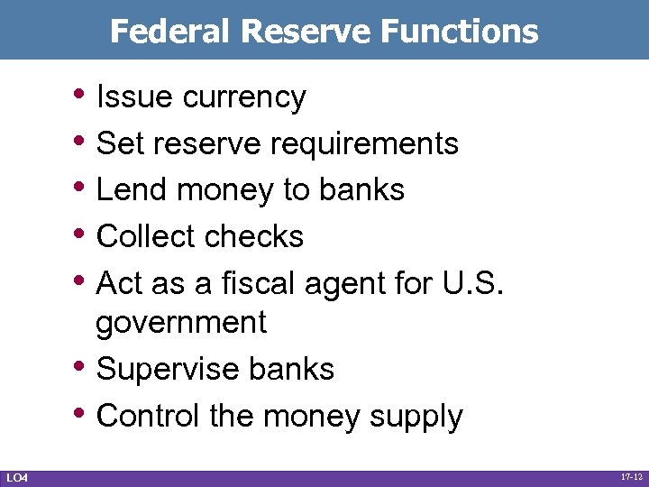 Federal Reserve Functions • Issue currency • Set reserve requirements • Lend money to