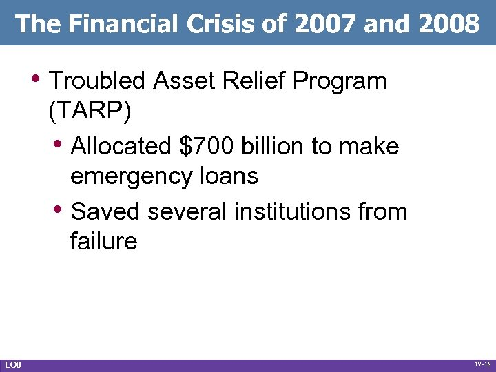 The Financial Crisis of 2007 and 2008 • Troubled Asset Relief Program (TARP) •