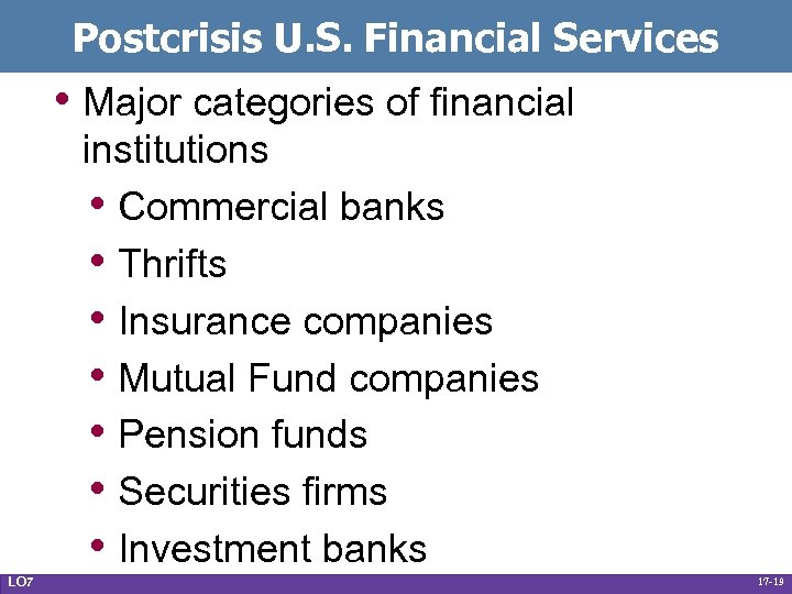 Postcrisis U. S. Financial Services • Major categories of financial institutions • Commercial banks